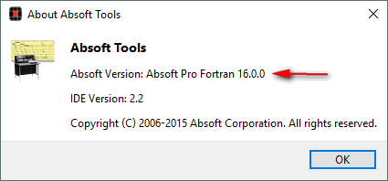 Absoft version displayed in the About AbsoftTools Dialog